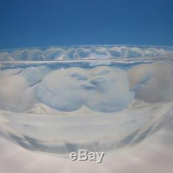 Signed Lalique French Art Glass Mesanges Crystal Frosted Bowl with Birds Trim