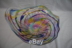 Signed Mid-Century Art Glass'SHELL' Bowl Centerpiece, Multi-Color Swirls