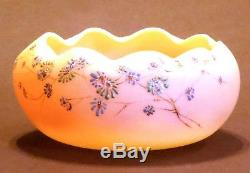 Signed Mt. Washington Burmese Decorated Art Glass Bowl Paper Label