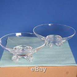 Signed Steuben Crystal Art Glass Pair of Footed Bowls 7¾ and 8 inches