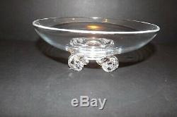 Signed Steuben John Dreves Mid-Century Crystal Low Four Footed Bowl 8 Art Glass