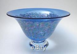Signed Tricia Allen Tag Australian Studio Art Glass Footed Bowl Gallery Quality