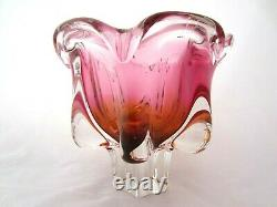 Sommerso Chribska XXL organic footed round pink & gold art glass bowl