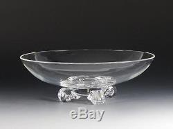 Steuben Art Glass Low Footed 11 Bowl / Compote With Scroll Feet #7909 Dreves