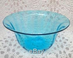 Steuben Marked Early 20th Century Rippled Blue Bowl