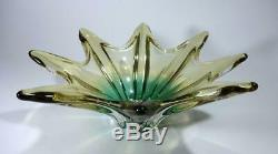 Stunning Vintage Retro Murano Art Glass Bowl Two Tone Amber Green