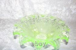 TS Antique Sowerby English Frogs in Bull Rushes Vaseline Art Glass Footed Bowl