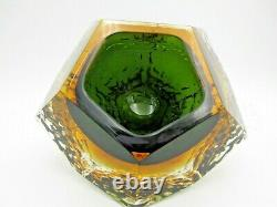 Textured & faceted Mandruzzato Murano art glass sommerso bowl green in amber