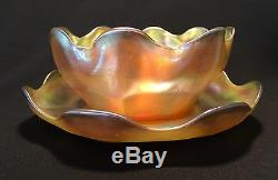 Tiffany Studios Gold Favrile Finger Bowl and Underplate LCT Art Glass Plate NR