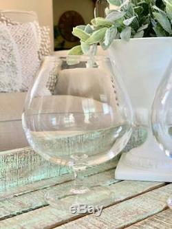 Two Steuben Art Glass Large Brandy Snifters Clear Bowl from William Coors Estate