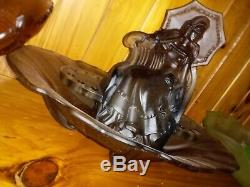 Ultra Rare Black Frosted Art Deco Parasol Lady Float Bowl August Walther & Sohne