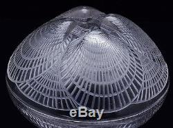 V. Nice Authentic R Lalique Coquilles Shell Pattern French Cystal Art Glass Bowl