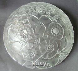 VERLYS LARGE ART DECO FROSTED FOOTED GLASS BOWL C1930 (Ref6759)