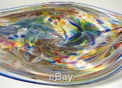 Very Large 30 Hand Blown Glass Art Wall Bowl Platter By Dirwood, Murano Style