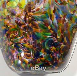 Very Large Hand Blown Glass Art Fluted Bowl Vase Blue Purple Red Aquamarine Gold