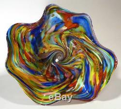 VERY LARGE HAND BLOWN GLASS BOWL END OF DAY GLASS MURANO STYLE BY DIRWOOD