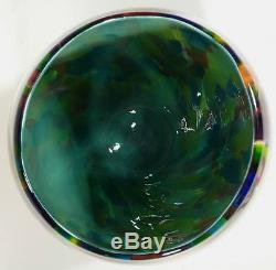 VERY LARGE HAND BLOWN GLASS VASE/BOWL RED BLUE PURPLE GOLD GREEN AQUA BY DIRWOOD