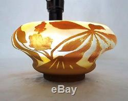 VERY LARGE c. 1900 EMILE GALLE FRENCH CAMEO ART GLASS BOWL With FLOWERS SIGNED