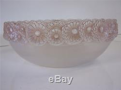VERY RARE c1931 SOUCIS bowl by RENE LALIQUE FRANCE opaque pink 9-1/2 SIGNED