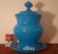 VICTORIAN antique french blue opaline under plate vtg art glass party punch bowl