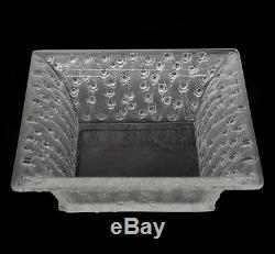 Vintage Lalique France Frosted Crystal Glass Square Roses Bowl Centerpiece