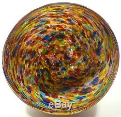 Very Large Hand Blown Glass Art Bowl / Vase Italian Style End Of Day Glass