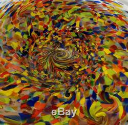 Very Large Sparkling Hand Blown Glass Art Wall Bowl Platter, By Dirwood, Murano