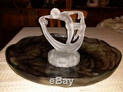 Very Rare Frosted Art Deco Lady Scarf Dancer Float Bowl Set Green Uranium Bowl