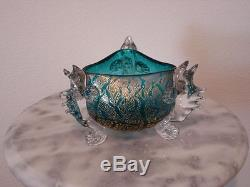 Victorian Antique Art Glass Aurora Glass Footed Blue Bowl with Gilding