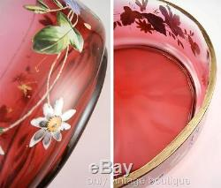 Victorian Cranberry Glass 9 Bowl Hand Painted Enamel Flowers Bohemian American