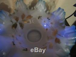 Victorian Enameled Art Glass Brides Basket And Stand