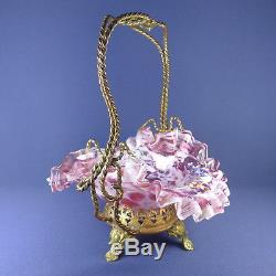 Victorian Floral Basket Antique Art Glass Ormolu Enameled Jewelry Stand
