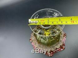 Victorian Uranium Art Glass Compote Candy Dish Cranbery/Amber Color Footed Bowl