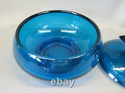 Viking Art Glass BLUENIQUE 8.75 Duck Goose Covered Candy Dish Bowl RARE MCM