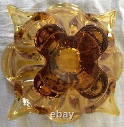 Viking Art Glass Epic 4 Foils Pointed and Crimped Bowl Amber