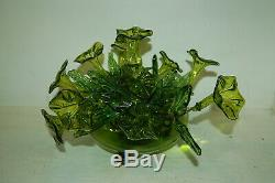 Vintage/Antique Hand Blown Art Glass Trumpet Flowers & Bowl Centerpiece