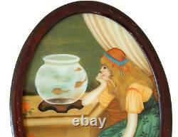 Vintage Antique Reverse Painting on Glass Gypsy Girl Bohemian Goldfish Bowl
