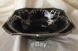 Vintage Art Deco Black Glass BOWL With ROCKWELL STERLING Silver Overlay