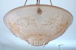 Vintage Art Deco Textured Pink Glass Bowl Pendant Lampshade French Plafonnier