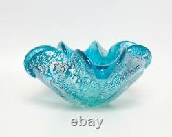 Vintage Barovier Toso Murano Art Glass Bowl Turquoise And Silver Aventurine Ribb