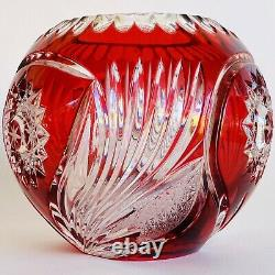 Vintage Bohemian Czech Art Glass Ruby Red Cut to Clear Crystal Rose Bowl Vase 5