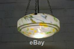 Vintage Ceiling Light 1930s Hanging Bowl Plafonnier Art Deco Glass Lampshade