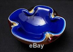 Vintage Italian Murano Quadruple Layer Cased Sommerso Geode Bowl MID Century