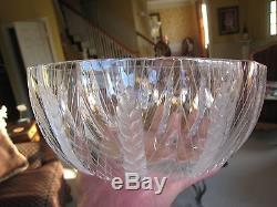 Vintage LALIQUE BOWL crystal FRANCE french WHEAT PATTERN art glass SIGNED cut
