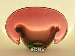 Vintage MURANO Seguso Clam Art Glass Bowl Cranberry Pink/Red w. Green layer