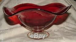 Vintage Mid Century Red Art Glass Footed Compote Ruffled Bowl Clear Edge & Base