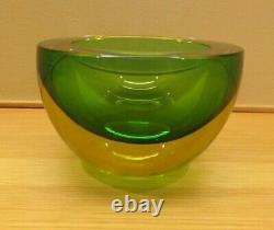 Vintage Murano Art Glass Geode Bowl Sommerso Italy
