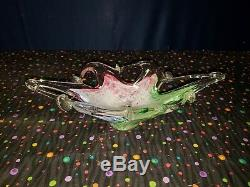 Vintage Murano Art Glass Star Fish Bowl Candy Dish Abstract Green, Pink, Blue