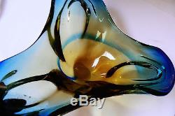 Vintage Murano Art Glass Three pointed Blue Yellow Topaz Mix Color Decor Bowl