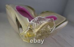 Vintage Murano Barbini Pink Cased Bowl withLeaf Italian Art Glass